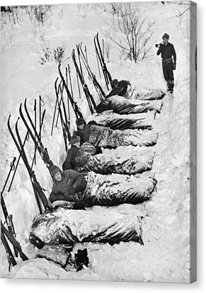 Winter Camping Canvas Print by Underwood Archives