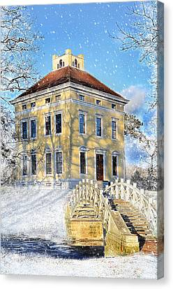 Winter Landscape With A Bridge Over The River And Interesting Home Canvas Print by Gynt