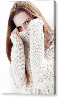 Woman Covering Face Canvas Print by Ian Hooton