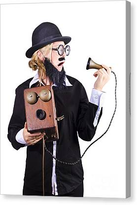 Woman Holding Antique Telephone Canvas Print by Jorgo Photography - Wall Art Gallery