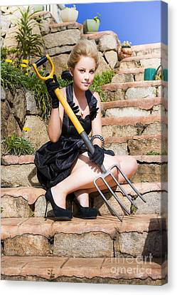 Woman Holding Pitchfork Canvas Print by Jorgo Photography - Wall Art Gallery