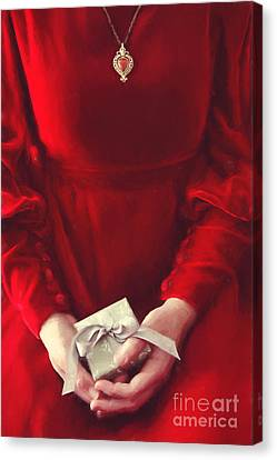 Woman In Red Dress Holding Gift/ Digital Painting Canvas Print by Sandra Cunningham