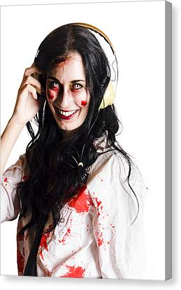 Woman Listening To Death Metal Canvas Print by Jorgo Photography - Wall Art Gallery