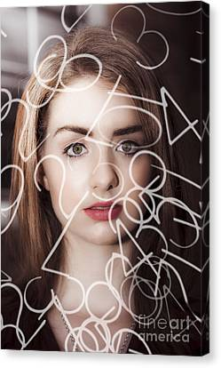 Woman Looking At Numbers Canvas Print by Jorgo Photography - Wall Art Gallery