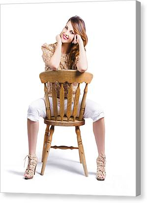 Woman Posing On Chair Canvas Print by Jorgo Photography - Wall Art Gallery