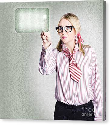 Woman Pressing Touch Screen Technology Button Canvas Print by Jorgo Photography - Wall Art Gallery