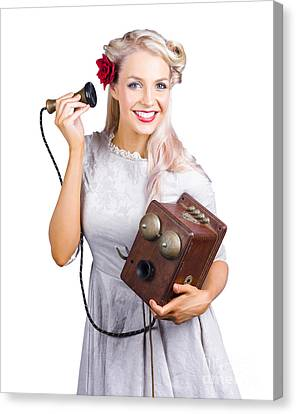 Woman Using Antique Telephone Canvas Print by Jorgo Photography - Wall Art Gallery