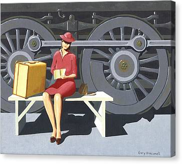 Woman With Locomotive Canvas Print by Gary Giacomelli
