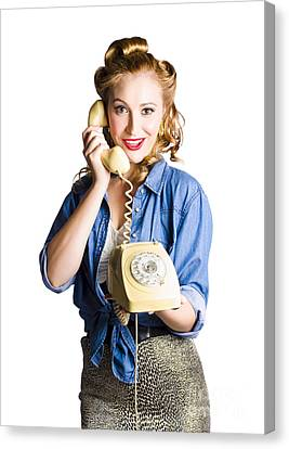 Woman With Retro Telephone Canvas Print by Jorgo Photography - Wall Art Gallery