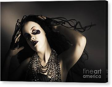 Young Grunge Fashion Girl. Wavy Dark Hair Style Canvas Print by Jorgo Photography - Wall Art Gallery