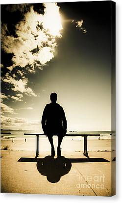 Young Man In Silhouette Sitting In The Sun Canvas Print by Jorgo Photography - Wall Art Gallery
