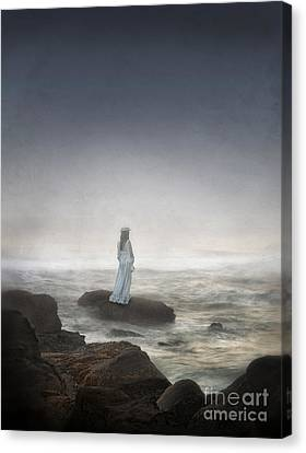 Young Woman In Vintage Dress By The Sea Canvas Print by Jill Battaglia