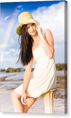 Young Woman Relaxing By The Sea Canvas Print by Jorgo Photography - Wall Art Gallery