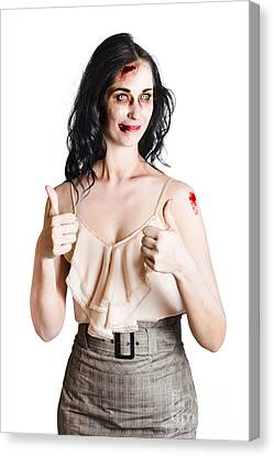 Zombie Woman With Thumbs Up Canvas Print by Jorgo Photography - Wall Art Gallery
