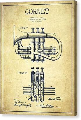 Cornet Patent Drawing From 1901 - Vintage Canvas Print by Aged Pixel
