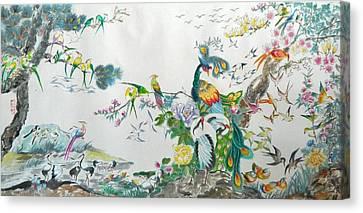 100 Birds Canvas Print by Min Wang
