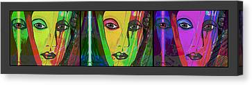 1085 - Triptych Vivid Colours Canvas Print by Irmgard Schoendorf Welch