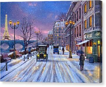 Winter In Paris Canvas Print by Dominic Davison