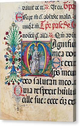 Anonymous Sienese Painter, Psalter Canvas Print by Everett