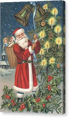 Christmas Card Canvas Print by English School