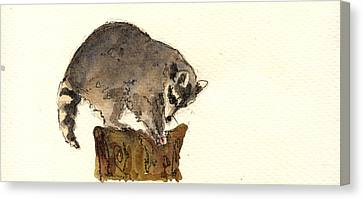 Raccoon Canvas Print by Juan  Bosco