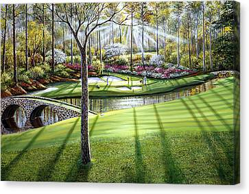 12th At Augusta National Canvas Print by Raymond Sipos