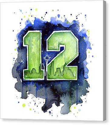 12th Man Seahawks Art Seattle Go Hawks Canvas Print by Olga Shvartsur