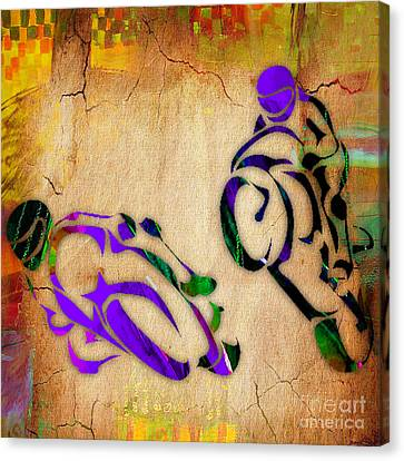 Motorcycle Racing Canvas Print by Marvin Blaine