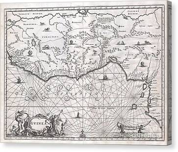 1670 Ogilby Map Of West Africa  Gold Coast Slave Coast Ivory Coast Canvas Print by Paul Fearn