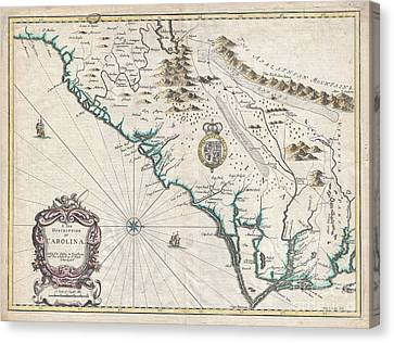 1676 John Speed Map Of Carolina Canvas Print by Paul Fearn
