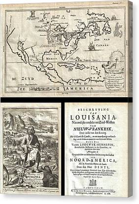 1688 Hennepin First Book And Map Of North America Canvas Print by Paul Fearn