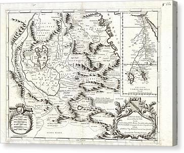 1690 Coronelli Map Of Ethiopia Abyssinia And The Source Of The Blue Nile Canvas Print by Paul Fearn