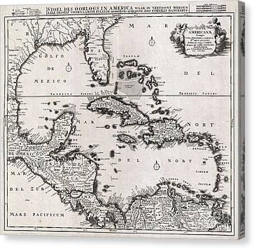 1696 Danckerts Map Of Florida The West Indies And The Caribbean Canvas Print by Paul Fearn