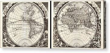 1696 Zahn Map Of The World In Two Hemispheres Canvas Print by Paul Fearn