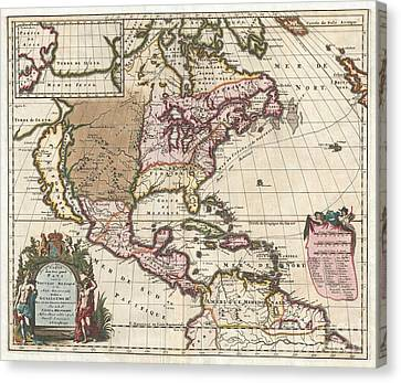 1698 Louis Hennepin Map Of North America Canvas Print by Paul Fearn