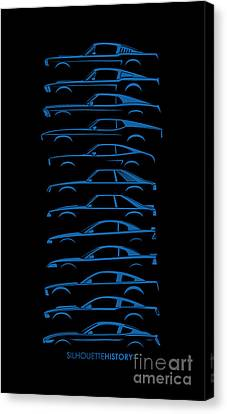 Ford Mustang Silhouettehistory Canvas Print by Gabor Vida