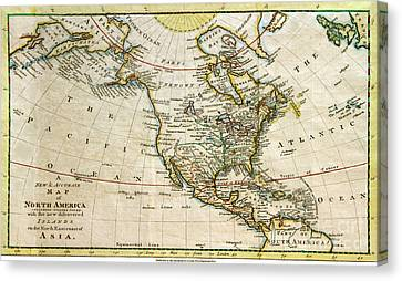 1700s Map Of North America Canvas Print by Maria Hunt