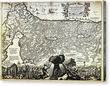 1702 Visscher Stoopendaal Map Of Israel Palestine Or The Holy Land  Canvas Print by Celestial Images