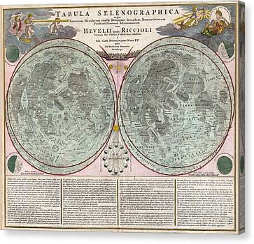 1707 Homann And Doppelmayr Map Of The Moon  Canvas Print by Paul Fearn