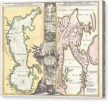 1725 Homann Map Of The Caspian Sea And Kamchatka Canvas Print by Paul Fearn