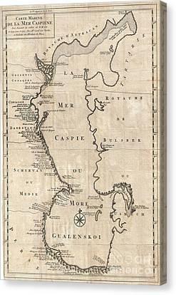 1730 Van Verden Map Of The Caspian Sea Canvas Print by Paul Fearn