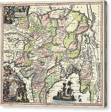 1740 Seutter Map Of India Pakistan Tibet And Afghanistan Canvas Print by Paul Fearn