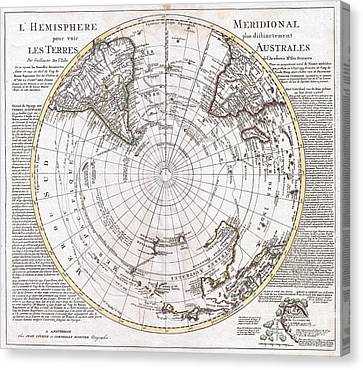 1741 Covens And Mortier Map Of The Southern Hemisphere South Pole Antarctic Canvas Print by Paul Fearn