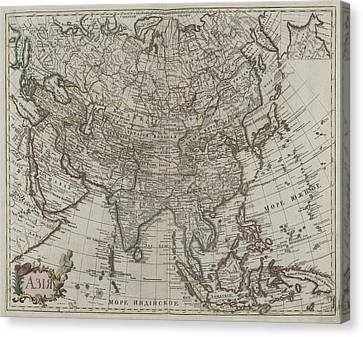 1745 Asia Map Canvas Print by Dan Sproul