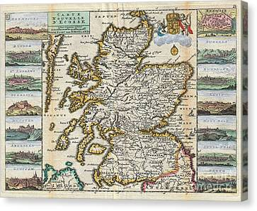 1747 La Feuille Map Of Scotland  Canvas Print by Paul Fearn