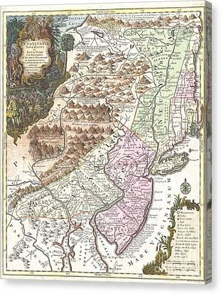 1756 Lotter Map Of Pennsylvania New Jersey And New York Canvas Print by Paul Fearn
