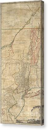 1768 Holland  Jeffreys Map Of New York And New Jersey  Canvas Print by Paul Fearn