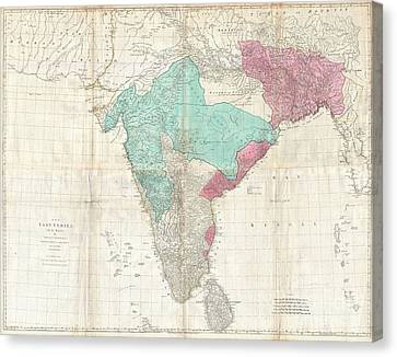 1768 Jeffreys Wall Map Of India And Ceylon Canvas Print by Paul Fearn