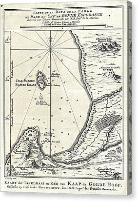 1773 Bellin Map Of The Cape Of Good Hope Capetown South Africa Canvas Print by Paul Fearn