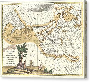 1776 Zatta Map Of California And The Western Parts Of North America Canvas Print by Paul Fearn
